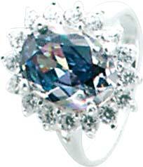 Silberring. Wunderschöner Ring aus echtem Silber Sterlingsilber 925/- mit  wunderschön funkelnden, grauen Ice Crystal Zirkonia, dieser rundum gefasst mit 15 weissen Brillantfunkelnden Zirkonia  im absoluten Topdesign. Durchmesser Stein ca. 10×8 mm, Breite
