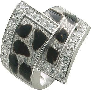 Silberring. Designer-Ring lackiert  mit 24 funkelnden Zirkonia, aus echtem Silber Sterlingsilber 925/- , mit nach unten verjüngenden Ringschiene, rhodiniert im edlen Weißgoldlook und poliert, Ringkopfbreite ca. 2×2 mm, Breite ca. 7 mm, Stärke ca. 1,0 mm.