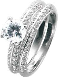 Silberringset 2-teilig, mit 69 wie Diamanten funkelnden Zirkonia, hochglanzpoliert und rhodiniert aus echtem Silber Sterlingsilber 925/- Mit gleichbleibender Ringschiene. Ringkrone 6,5mm, Breite 2,3mm, Stärke 1,7mm pro Ring. Hammerpreis Stuttgart! In Prem