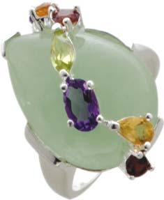 Ring, grüne Jade, Amethyst Blautopas, C...
