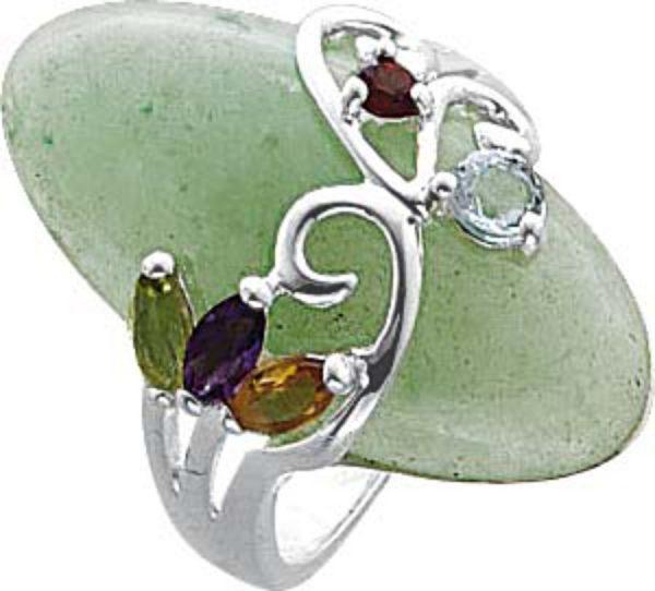 Edelstein grün Ring Silber 925 Jade lil...