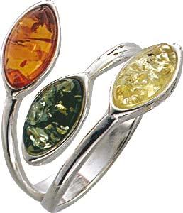Bernsteinring in  verschiedenen Größen. Silberring mit echten, 3- farbigen ( Grün, Gelb und Braun) wunderschönen Bernsteinen, fein eingearbeitet in echtem 925/- Silber Sterlingsilber, poliert und rhodiniert (Weißgoldlook). Durchmesser Steine ca. 10,0,x5,0