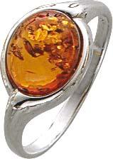 BensteinSilberring in verschiedenen Größen. Ring mit echtem, wunderschönen braunen echtem Bernstein, fein eingearbeitet in echtem 925/- Silber Sterlingsilber, nach unten verjüngende Ringschiene, rhodiniert (Weißgold-Look) und hochglanzpoliert. Durchmesser