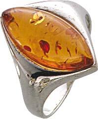 Silberring. Ring mit echtem, wunderschönen Bernstein, fein eingearbeitet in echtem 925/- Silber Sterlingsilber, nach unten verjüngende Ringschiene, rhodiniert (Weißgold-Look) und hochglanzpoliert. Maße ca. 16×7 mm, Stärke ca. 6,8 mm. In verschiedenen Größ