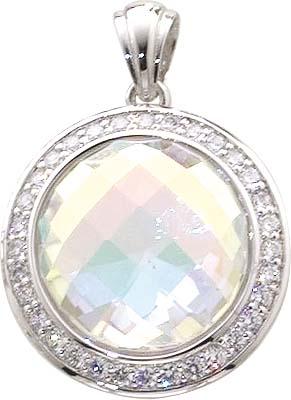 Anhänger in echtem Silber Sterlingsilber 925/- mit 28 weißen, wie Diamanten funkelnden Zirkoniasteinen und regenbogenf. Glasstein, Lg. 4,0 mm. Zum Schnäppchenpreis von Abramowicz aus Stuttgart. Die Nr.1 für Gold,Silber und