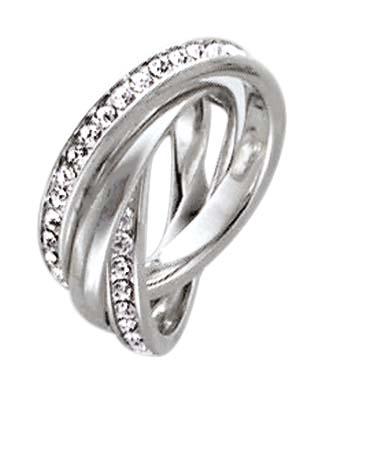Ring aus echtem Silber Sterlingsilber 925/- mit ca. 70 weißen funkelnden Zirkoniasteinen, 3-teilig. Breite jeweils ca. 3mm. Die Oberfläche ist rhodiniert und poliert. Zum Schnäppchenpreis von Deutschlands größtem Schmuckhändler Abramowicz aus Stuttgart.