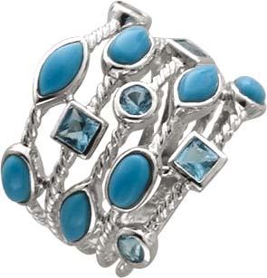 Ring hellblaue Steine Silber 925 blaue T...
