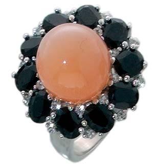 Silberring. Ring mit echtem Mondstein, S...