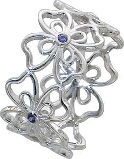 Blumen Ring Silber 925 Blütenring violett Damenring lila Zirkonia