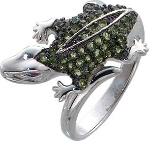 Silberring Krokodile, mit 59 grüne und ...