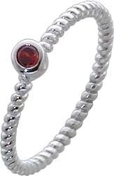 Ring aus echtem Silber Sterlingsilber 925/- mit rotem Zirkoniastein (Ø ca. 3mm).Mit gleichbleibender Ringschiene, Breite ca. 2mm. Im angesagten PANDORA Style und passend für alle Sammelsysteme. Premiumqualität von Deutschlands größtem Schmuckhändler Abram