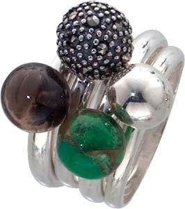 4-teiliges Ringset mit grünen Onyx, Mar...