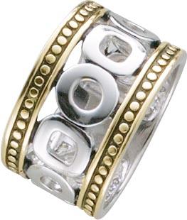 Designer-Ring, erhältlich in den Größen 16-20 mm, aus echtem Silber Sterlingsilber 925/-, teilweise vergoldet, poliert und rhodiniert im edlen Weißgoldlook. Breite ca. 14 mm. Ein Schmuckstück für alle, die das Besondere lieben mit Niedrigpreisgarantie aus