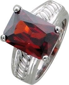 Silberring. Ring in verschiedenen Größen (16-20mm) aus echtem Silber Sterlingsilber 925/-, besetzt mit einem feurig roten Zirkon. Der Ring hat eine gleichbleibende Ringschiene, ist rhodiniert und hochglanzpoliert. Durchmesser Zirkon ca. 12×12 mm, Breite c