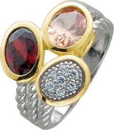 Sehr edles Design. Silberring aus echtem Silber Sterlingsilber 925/-, teilweise vergoldet, besetzt mit einem feurig roten, einem champagnerfarbenen und weißen funkelnden Zirkonia. Der Ring hat eine gleichbleibende Ringschiene und ist hochglanzpoliert, Bre